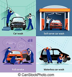 Car Wash Service 4 Flat Icons - Car wash center full and...