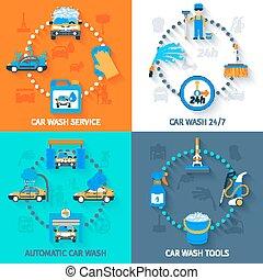 Car wash service  4 icons flat