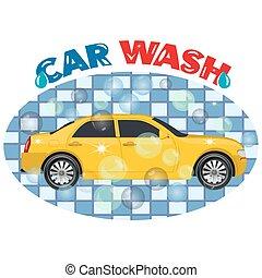 Car wash service, emblem, vector