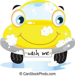 Car wash service - Vector illustration of happy yellow car...