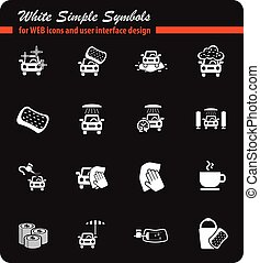 car wash service icon set