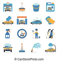 Car wash service icons set - Automatic carwash facilities...