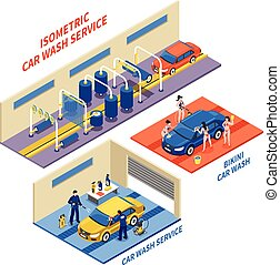 Car Wash Service Isometric Compositions - Car wash service...