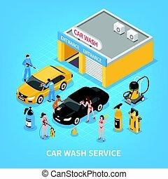 Car Wash Service Isometric Illustration