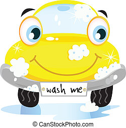 Vector illustration of happy yellow car in car wash cleaning service. Vector cartoon illustration.
