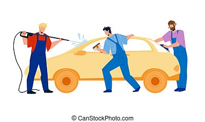 Car Wash Service Workers Washing Automobile Vector