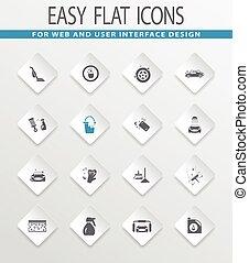 Car wash shower service icons set - Car wash easy flat web...