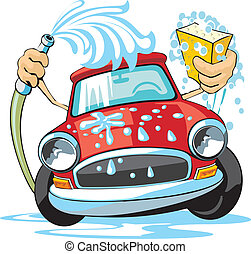 car wash sign - car wash with sponge and hose