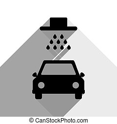 Car wash sign. Vector. Black icon with two flat gray shadows on white background.