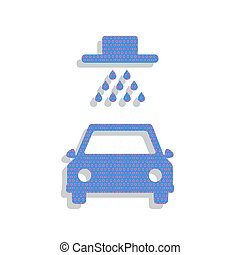 Car wash sign. Vector. Neon blue icon with cyclamen polka dots p