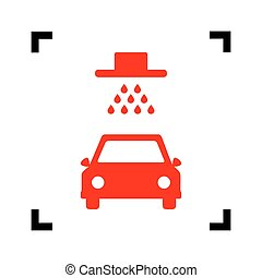 Car wash sign. Vector. Red icon inside black focus corners on white background. Isolated.