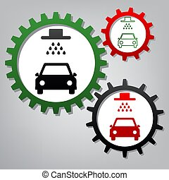 Car wash sign. Vector. Three connected gears with icons at grayi