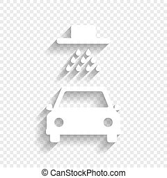 Car wash sign. Vector. White icon with soft shadow on transparent background.
