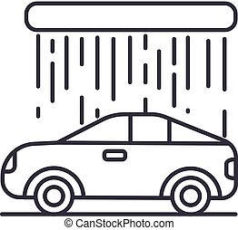car wash vector line icon, sign, illustration on background, editable strokes