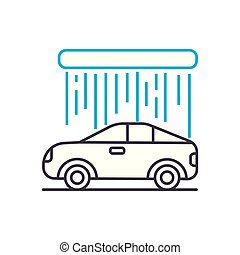 Car wash vector thin line stroke icon. Car wash outline...