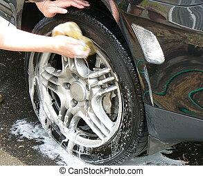 car wash - washing car wheels