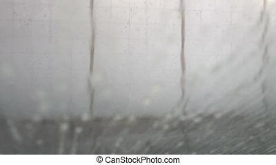 Car wash windshield view