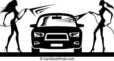 Car wash with fashion models - vector illustration