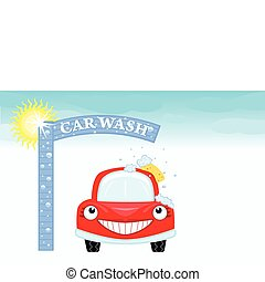 Car wash with happy auto and blue sky. Vector illustration saved as EPS AI8, all elements layered and grouped.