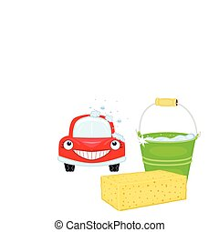 Car wash with happy vehicle
