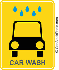 Car wash - yellow vector sign, icon. Car under water drops.