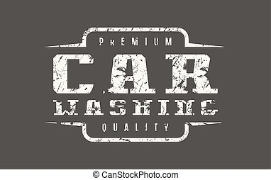 Car washing badge with shabby texture