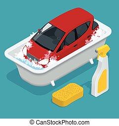 Car Washing. car wash service.  Car with Car wash Sign. Flat 3d isometric vector illustration.