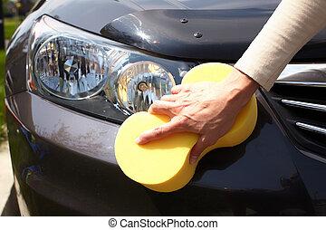 Car washing. - Car washing hand.