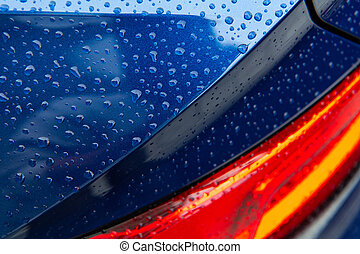 Car Washing Clean Vehicle Body Covered by Water Drops