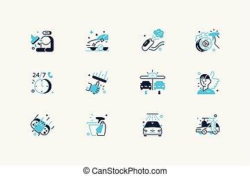 Car washing icon set