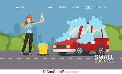 Car washing service, woman cartoon character, website design, people vector illustration