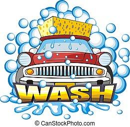 car washing sign - sign a car body washing