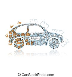 Car washing, vector icons sketch for your design. Vector...