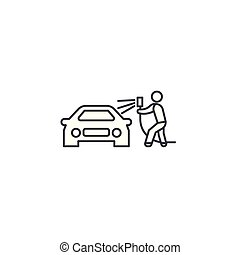 car washing vector line icon, sign, illustration on...