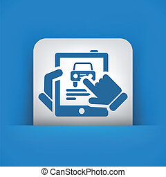 Car website icon on tablet