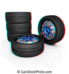car wheel. 3D illustration. Anaglyph. View with red/cyan glasses to see in 3D.