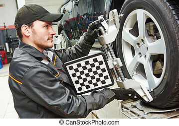 car wheel alignment service work