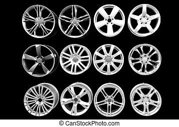 car wheel aluminum rims isolated on black