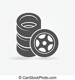 Car wheel and tires icon - Car wheel icon - vector tires...
