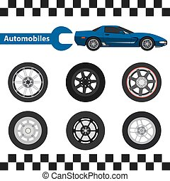 car wheel - Car wheel Illustration tire set