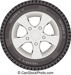 Car Wheel, Cartire Isolated On A White Background. Vector Illustration.