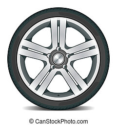 Detailed vector illustration of a car wheel