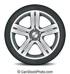 Car wheel - Detailed vector illustration of a car wheel