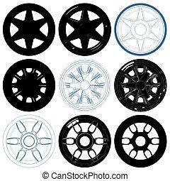 Car Wheel Disc Rims Vector 01...