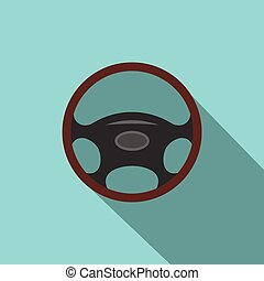 Car wheel flat icon with shadow