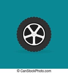 Car wheel flat vector minimal icon
