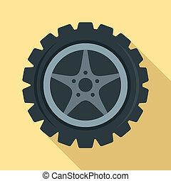 Car wheel icon, flat style