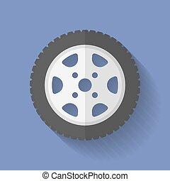 Car wheel icon. Flat style