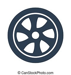 Car wheel icon on white background.