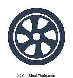 Car wheel icon on white background.